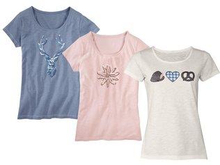 98d529c2f6d5c4 Esmara Damen T shirt Glitzer Oberteil Muster Trachten Dirndl NEU